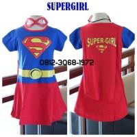 Baju Dress Kostum Superhero Girl Anak Perempuan SUPERGIRL 6-9 Tahun