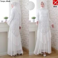 Baju Gamis Wanita / Gamis Jumbo / Gamis Putih / Baju Muslim #804 JMB