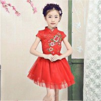 Dress Imlek Cheongsam Girl Anak cewe qualitas premium - BIG FLOWER
