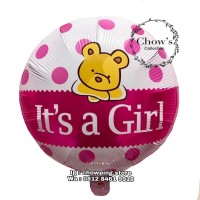 Balon Foil Bulat Baby Shower motif Polkadot tulisan Its a GIRL