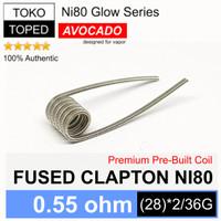 Authentic Avocado FUSED CLAPTON Ni80 Coil 0.55 ohm   nichrome 80 vape