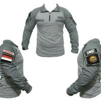 combat shirt abu (NEW DESIGN) - kaos tactical velcro - baju pria