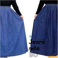 Rok Jeans Panjang Jumbo / Rok Denim Alika / Rok Payung Bigsize - Biru Muda, M