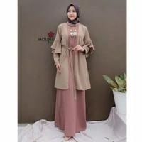 baju gamis polos dress muslim wnita/trusyia set 2in1/baju hijab