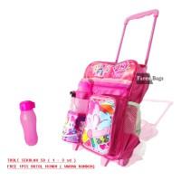 Troli Sekolah Anak SD Perempuan Litle Pony Tas roda Free Botol Minum