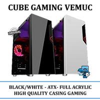 Casing Cube Gaming VEMUC BLACK/WHITE - ATX - Full Acrylic Window