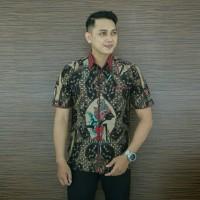 Kemeja Hem Batik Pria Katun Wayang Hitam Cap Premium