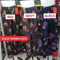 Terbaru celana kulot wanita import motif BUNGA / pleated cullote