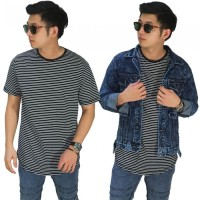 Kaos Pria Thin Stripe Black/ T-Shirt Belang Casual Premium Putih Hitam