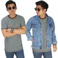 Kaos Pria Thin Stripe White/ T-Shirt Belang Casual Premium Hitam Putih
