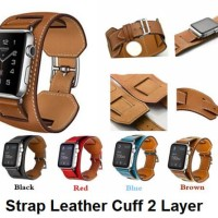 Apple Watch iWatch 42MM 44MM - Tali Jam Strap Kulit Leather Cuff Band