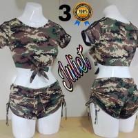 Baju senam, atasan dan hotpant serut Army
