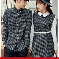 DRESS PASANGAN/DRESS COUPLE/BAJU COUPLE KEMEJA KOTAK MURAH KOREA - Hitam