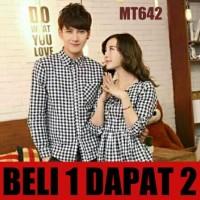 BAJU COUPLE/BAJU PASANGAN/KEMEJA COUPLE DRESS KOTAK KOREA
