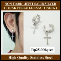 HOT SALE Anting NON Tindik - Jepit Salib Silver terjamin