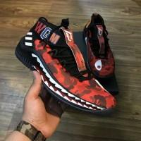 Sepatu Adidas Dame 4 WGM x Bape Red Perfect Kick Original PK
