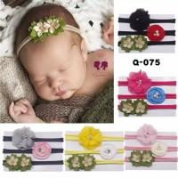 Bandana Bayi Newborn Bando Anak 1 Set 3 Pieces   Baby Headband Q-075
