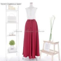 Rok Panjang Murah Muslimah Satin Velvet Umbrella Skirt Warna Milo