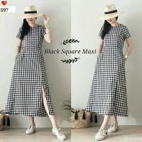Baju Wanita Murah / Maxi Dress Kotak Lengan Pendek