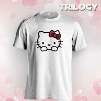 Kaos Premium Brand TRILOGY Cute Hello Kitty Glitter Tshirt - Putih, XL
