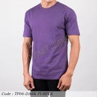 Baju kaus polos cowok / polosan oneck pria seri warna misty ungu tua