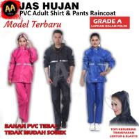 Jas Hujan Setelan/Stelan Jaket Baju Celana Raincoat Pria Wanita PVC A - XXL, Hitam