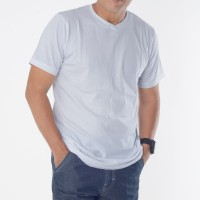 Muscle Fit Kaos Polos V-Neck Lengan Pendek Cotton - Solid Color