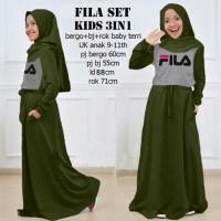 Fila set kids 3in1 Army, baju muslim anak, Stellashoppie