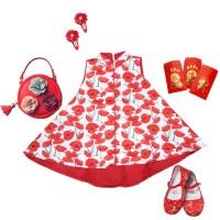 DR1807 - Dress Cheongsam Imlek Sincia Anak Cewek Perempuan Robe Flower