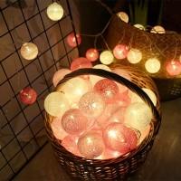Cotton Ball Light Lamp Lampu Hias Benang 20 Bola Lampu Pink
