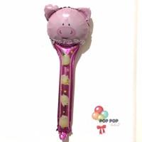 Balon Foil Tongkat Pig / Pentung / Pentungan Karakter Babi Piggy Pink