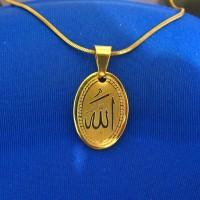 Liontin Lafadz Allah Titanium Gold Set Kalung Emas Titanium