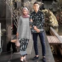 couple abi grey stelan kebaya tunik brukat batik baju pesta cp hab vt