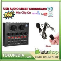 MIXER Sound Card External Soundcard Audio ASMR V8 Live Microphone