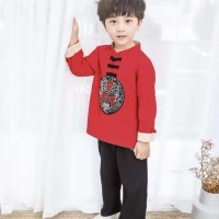celana hitam setelan baju imlek cheongsam anak cowo laki merah