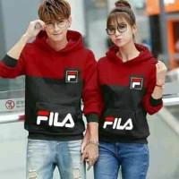 Baju Couple Lengan Panjang Couple Sweater Hoodie Pocket Fila Combi
