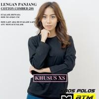 Kaos Polos Cotton Combed 20s Lengan Panjang Dewasa Size XS - Warna