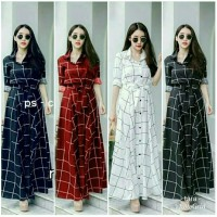 LD SQUARE Baju Wanita Longdress Maxi Gamis Rok Panjang Terusan Kotak