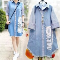 Baju Cewek Midi Dress Rok Terusan Tunik Bahan Jeans ECDE Wanita