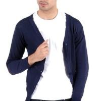 Murah Cardigan Sweater Pria Kancing Jaket Rajut Cowok Navy Ariel As-53