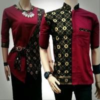 Baju Couple batik atasan maroon - batik sarimbit - BATIK PASANGAN