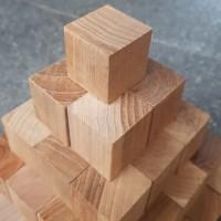 potongan balok kubus kayu jati 3x3x3 cm