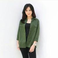 Baju Atasan Wanita Murah - KEMEJA GILENA ARMY Premium