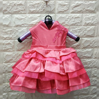 BAJU BAYI PEREMPUAN DRESS CHEONGSAM SUSUN SZ BABY IMPORT - Sz 1pink