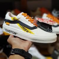 Sepatu Vans Old Skool x Off White Custom Yellow Black BNIB