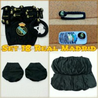Set SARUNG bantal headrest jok kursi mobil Real Madrid hitam 18 C