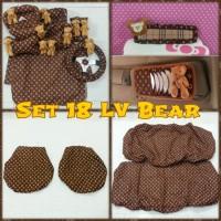 Set SARUNG bantal headrest jok kursi mobil bear beruang LV coklat 18 B