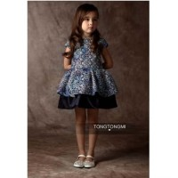 Dress Anak Warna Biru Dongker Gaun Anak Perempuan MOtif Bunga-bunga
