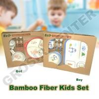 Bamboo Fiber Feeding kids Set-Peralatan makan bayi-Piring anak TW-0013