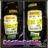 PAKET ban pirelli Diablo scooter 80/90 dan 90/90 ring 14 For Matic